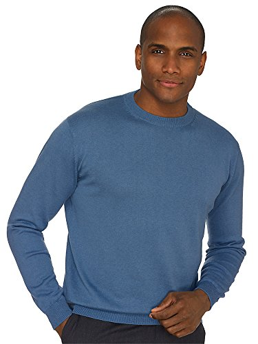 Paul Fredrick Men's Silk, Cotton, \ Cashmere Crew Neck Sweater Denim Blue Large