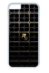 Gold Lattice Polycarbonate Hard Case Cover for iphone 6 plus 5.5 inch White