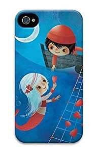 3D Hard Plastic Case for iPhone 4 4S 4G,Boy and Sea-maid Girl Case Back Cover for iPhone 4 4S
