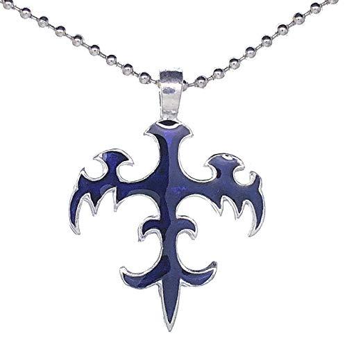 Tribal Fleur de lis Phoenix Shape Blue Pewter Pendant Necklace Silver Ball ()