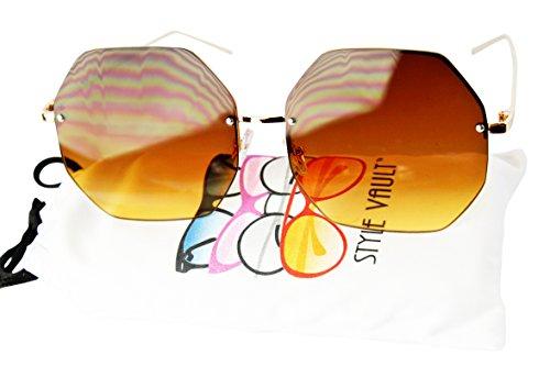 WM3098-VP Oversize Octagon Hexagon Geometric Metal Sunglasses (C018 Brown, - Sunglasses 1970s Mens