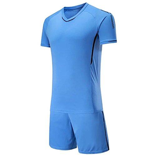 開発する事前にエンジニアKINDOYO メンズ&ボーイズサッカージャージー、サッカーTシャツ+サッカーショーツ、サッカートレーニング服、サッカーキット (ブルー,2XL)