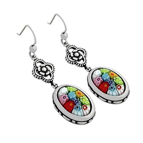 - Sterling Silver Multicolor Glass Murano Millefiori Dangle Oval Earrings (Made in Italy)