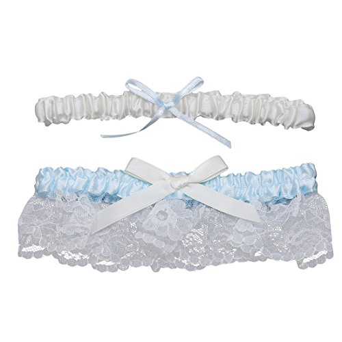 Slocyclub Lovely Stretch Wedding Garter Set with Satin Bow and Lace for Bridal Blue
