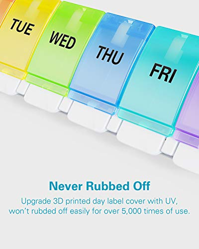 BUG HULL Pill Organizer Arthritis Friendly, Weekly Pill Box with Push Open Button, 7 Day Pill Case, Daily Medicine Organizer for Vitamins, Fish Oils, Supplements
