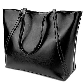 YALUXE Women's Genuine Leather Laptop Tote Shoulder Bag Handbag Purse Fits 15.6 inch Vintage Style Soft Work Bags Black