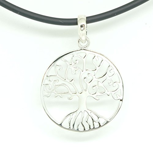 925 Sterling Silver Tree of Life Disk Chain Pendant Necklace - PVC Necklace 18 inch 2mm. Lobster Clap ()