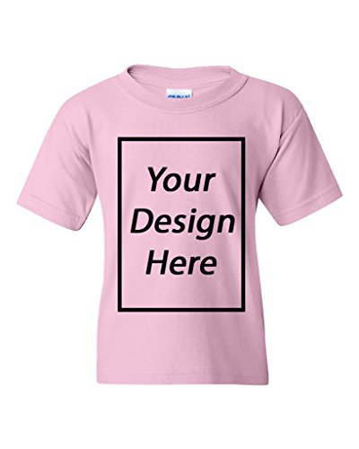 Add Your Own Text Design Custom Personalized Youth Kids T-Shirt Tee (Medium, Light Pink) ()