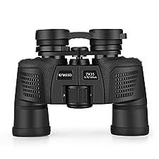 Enkeeo Compact Binoculars with Case for Bird Watching, Hunting, Wildlife Viewing (Black, 7x35 mm)