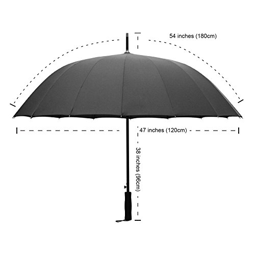 Becko 47 Inches Black Auto Open Umbrella Long Umbrella with 16 Ribs, Durable and Strong Enough for the Fierce Wind and Heavy Rain, Classic Style with Soft Foam Rubber Stick Handle, Unisex Umbrella (Fiberglass Furniture Patio Vintage)