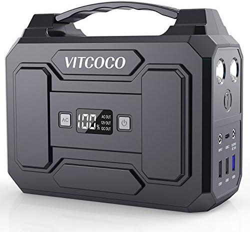 Power Station Generator VITCOCO 167Wh 100W Peak 120W Portable Power Station for Camping Generators for Home Use 45000mAh with 110V AC 12V DC QC3.0 USB LED Flashlight for Home Travel Emergency