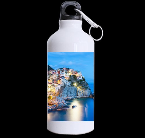 Most Beautiful Town Italy Coast DIY Personalized Custom Sport Water Bottle Travel Cup Design Your Own Nice Gift Art Prints Twin Sides by CustomLittleHome