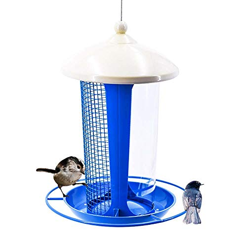 (Hanging Wild Bird Feeder, Bird Feeding Station Table Tray, with Transparent Tube/Mesh Two-Layer Design/Easy to Clean, Attracting More Birds, Blue)