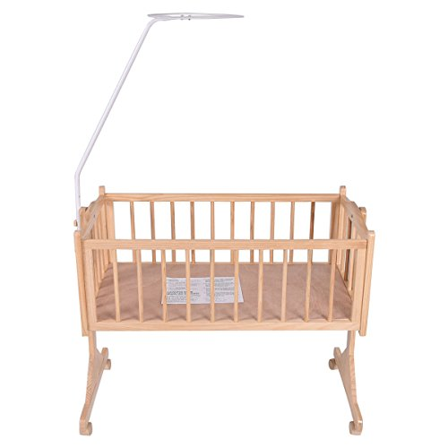 SKEMiDEX---Wood Baby Cradle Rocking Crib Bassinet Bed Sleeper Born Portable Nursery Yellow This Wooden Baby Cradle comes complete with everything your baby needs for sleep by SKEMiDEX (Image #3)