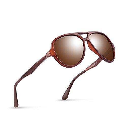 2020Ventiventi Brown Sunglasses for Men Polarized Lens Aluminum Temples Aviator Styles Double Bridge Designer UV400 Protection
