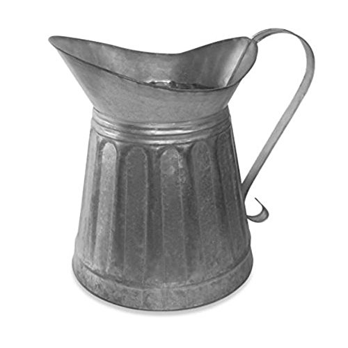 Benzara AMC0004 Vintage Style Galvanized Metal Milk Pitcher, Gray