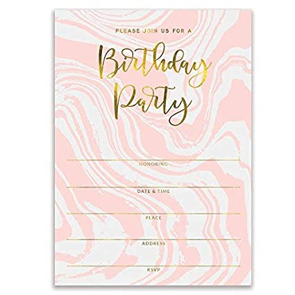 """Pink Birthday Party Invitations Modern Swirling Colorful Fill In Invites with Envelopes ( Pack of 25 ) Large 5x7"""" Blank 21st Sweet 16 Adult Teen Child Kid ..."""