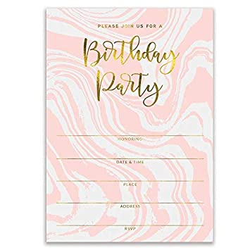 amazon com pink birthday party invitations modern swirling colorful