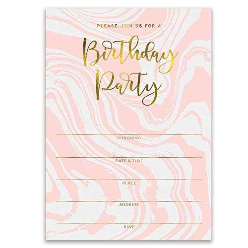 "Pink Birthday Party Invitations Modern Swirling Colorful Fill In Invites with Envelopes ( Pack of 25 ) Large 5x7"" Blank 21st Sweet 16 Adult Teen Child Kid Female Girl Parties Excellent Value VI0073B -"