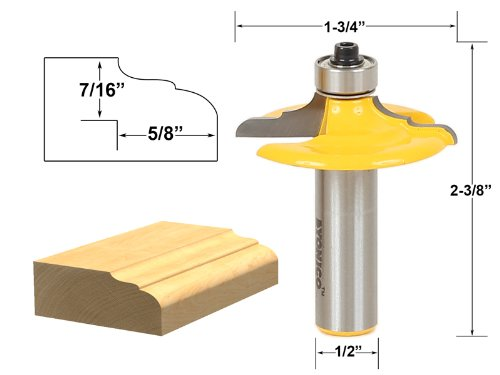 Yonico 12164 Drawer and Cabinet Door Front Edging Classical Router Bit 1/2-Inch - Cabinet Router