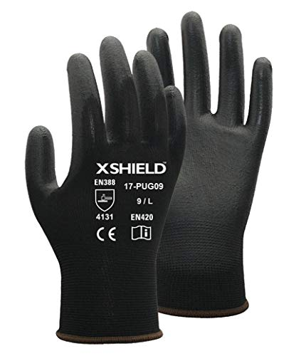 XSHIELD 17-PUG,Polyurethane/Nylon Safety WORK Glove,BLACK,12 Pairs (Large) (Gloves Dipped Nylon)