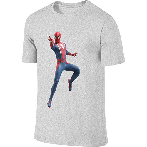 Syins Mens Customized Classic Tees Spider Man Peter Parker T-Shirt Gray