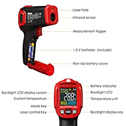 Infrared Thermometer, ZOTO Color Screen Non Contact Digital Laser Thermometer Temperature Gun -58?~1022? (-50? ~ 550?) with Adjustable Emissivity and Max Measure for Kitchen Cooking BBQ Automotive
