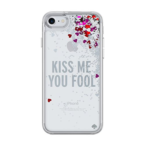 (kate spade new york Liquid Glitter Case for iPhone 8 & iPhone 7 - Kiss Me You Fool Silver Glitter/Silver Foil Hearts/Pink Hearts/Red Hearts)