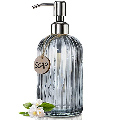 - JASAI 18 Oz Vertical Striped Kitchen Soap Dispenser with 304 Rust Proof Stainless Steel Pump, Refillable Liquid Soap Dispenser for Bathroom, Kitchen, Hand Soap, Dish Soap (Clear Grey)