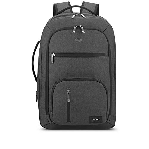 Solo New York Downtown Grand TSA Weekender Convertible Carry-On Travel Backpack. Fits up to 17.3 inch Laptop, 30L Capacity-Grey