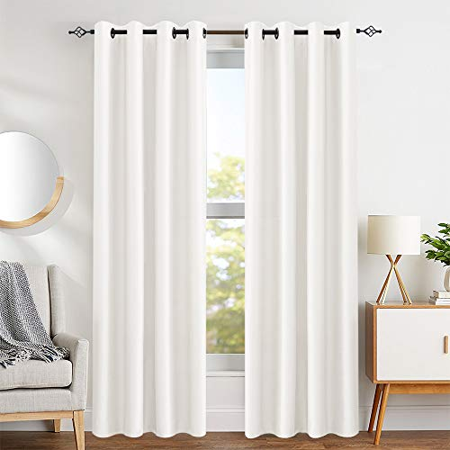 Faux Silk White Curtains 84 inch Bedroom Living Room Dupioni Window Curtain Panels for Living Room Satin Drapes Light Reducing Window Treatment Set, Grommet Top, 2 Panels Dupioni Silk Curtain Panel