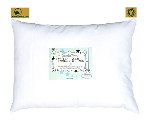 YourEcoFamily Toddler Pillow-14x19,Certified ORGANIC Shell w/Organic Cotton PillowCase -Soft,Colorful, Naturally Hypoallergenic (cars) by YourEcoFamily (Image #1)