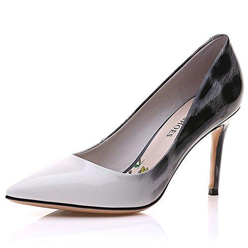 PUMPS Lady Pointed Shoes,Flacher Mund und High Heels,Leopard Leder Schuhe A