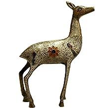 Global Art World Vintage Collectible Brass Deer Miniature Showpiece Mid Century Reindeer Antler Desk Accessory Idols House Warming Gifts Handmade Items AS 019