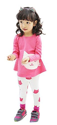 Upopby Cute Baby Girls Clothes Pants Sets Cartoon 2pcs Top and Legging Outfits Rose Red 140 - Cute Outfits For Teenage Girls