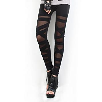 HOUSWEETY Collant Legging Tregging Pantalon Stretch Sangle Croix Noir Femme  Sexy Fantaisie 63f31810eb2