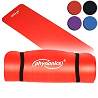 Physionics Pilates Yoga und Gymnastikmatte 180 X 60 X 1.0 Rot, FNMT02-1.0