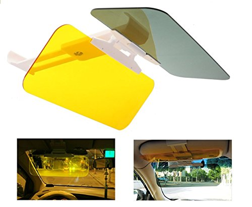 Sinsen 2 in 1 Anti-Glare Sun Shield Mirror Night Vision and Sun Visor Anti-UV Block Day and Night Sun Protection - Sunglasses Loss Vision Cause Can