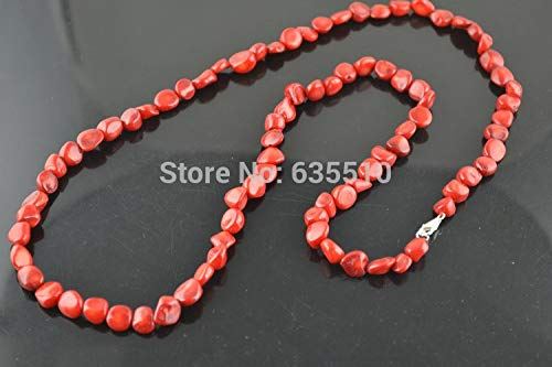 (1 Pc 32 Inches Red Coral Freeform Nugget Beads Necklace Fashion Woman Jewelry)