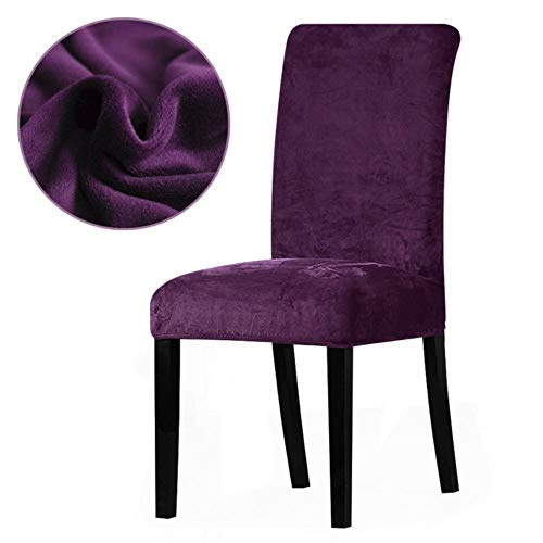 Hakazhi Inc Real Velvet Fabric Super Soft Chair Cover Luxurious Office Seat Thick Chair Covers Stretch Dining Room Hotel Banquet Restaurant (Grape,Universal Size) (Velvet Chair Purple Wingback)
