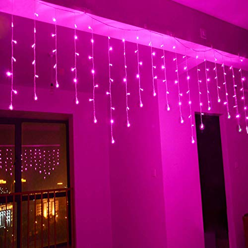 (Lainin 3.5M/11ft 96 LED Linkable Fairy Curtain String Light with 8 Modes Control for Indoor/Outdoor/Patio/Wedding/Christmas Party Holiday Decoration (Pink))
