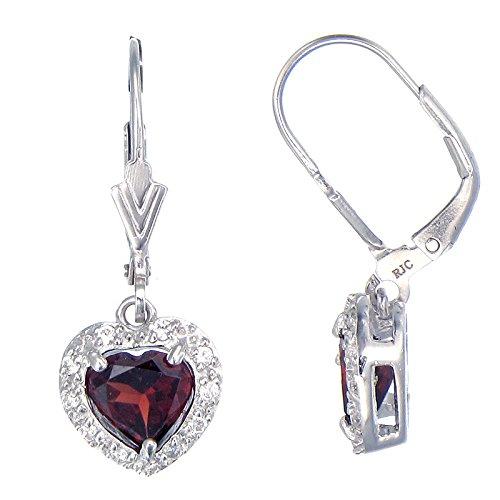 Cut Garnet Dangling Earrings - Sterling Silver Garnet Earrings (2 CT)