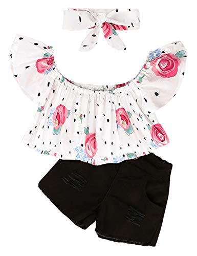 3Pcs/Set Toddler Baby Girl Clothes Summer Outfits Floral Print Ruffle Off Shoulder Tops+Jeans/Denim Shorts with Headband (White, 6-12 Months)