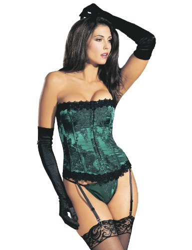 Shirley Of Hollywood Cotton Costume - Shirley of Hollywood Women's Floral Tapestry Strapless Corset, Emerald, 32
