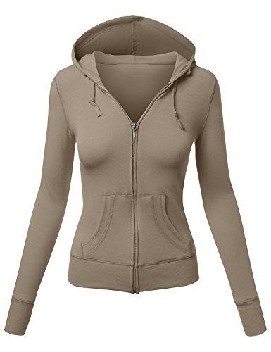 HATOPANTS Zip Up Closure Long Sleeve Plus Size Hoodied Jacket Deep KH X-Large