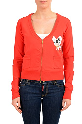 DSQUARED2 Women's Red Embellished Full Zip Track Jacket US L IT (Dsquared2 Womens Clothing)
