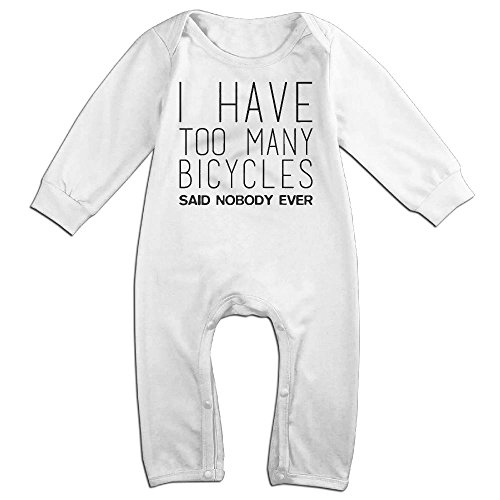 [Baby Infant Romper I Have Too Many Bicycles Said Nobody Ever Long Sleeve Bodysuit Outfits Clothes White 18 Months] (Dinosaur Costume Bike)