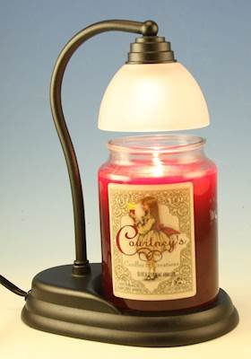 Aurora Black Candle Warmer and Courtneys 26 oz Candle - Warm Vanilla - Candle Aurora