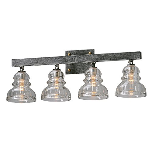 Troy Lighting Menlo Park 4-Light Vanity - Old Silver Finish with Historic Pressed Clear Glass