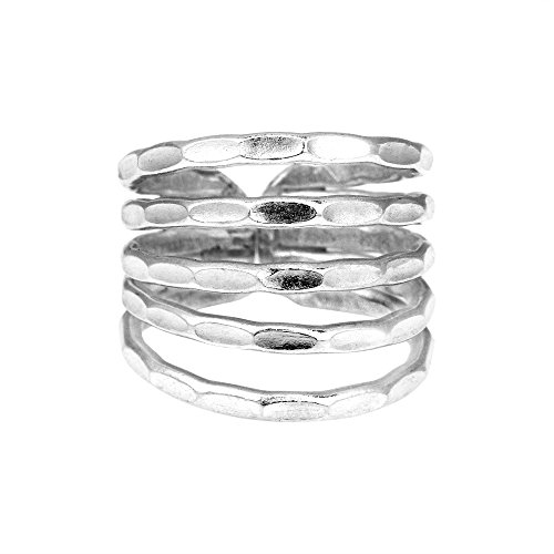 Hill Tribe Rings - AeraVida Hill Tribe Horizons Hammered Fine Silver Ring (6)